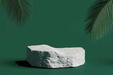 Kameni podij proizvod s tropskim lišćem na zelenoj pozadini. 3d prikaz
