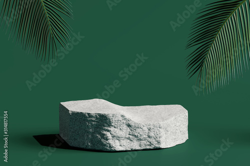 Cuadros en Lienzo Stone podium product with tropical leaves on green background