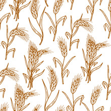 Hand Drawn Doodles Wheat Ears - Vector Seamless Pattern