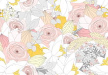 Seamless Background Of Rose Flowers In Pastel Colors