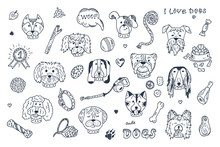 Dogs Vector Set. Dogs Faces Ic...