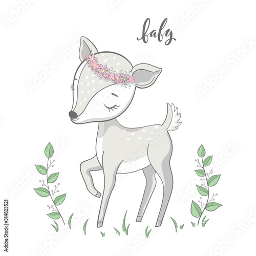Cartoon young deer with branches on white background Canvas Print