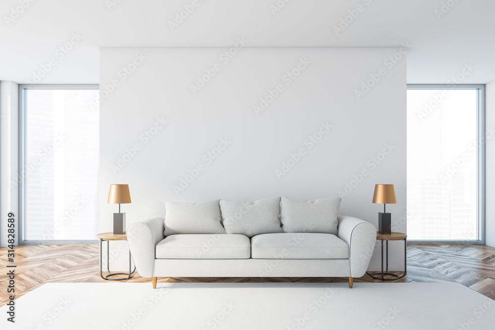 Fototapeta White living room interior with white sofa