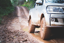 Dirty Offroad Car, SUV Covere...