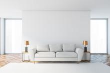 White Living Room Interior With White Sofa