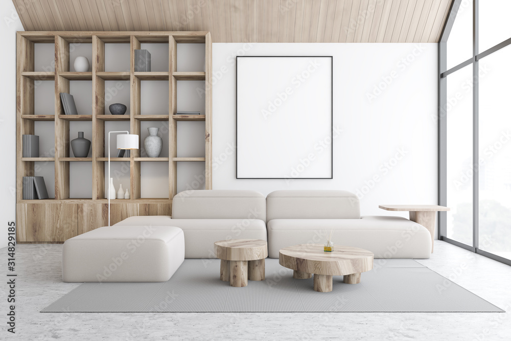 Fototapeta White attic living room and library with poster