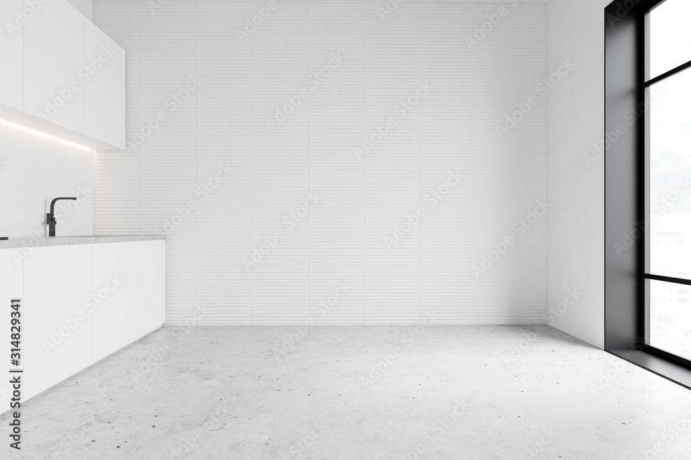Fototapeta Minimalistic spacious white kitchen interior