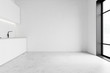 canvas print picture - Minimalistic spacious white kitchen interior