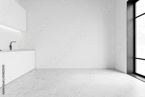 Obraz Minimalistic spacious white kitchen interior - fototapety do salonu