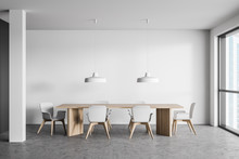White Dining Room Interior Wit...