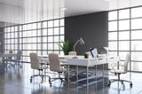 Fototapeta Kawa jest smaczna - Gray panoramic CEO office corner