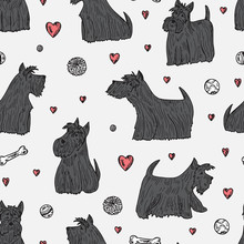 Dog Vector Seamless Pattern. Hand Drawn Doodle Scottish Terriers. Pets. Dogs. Black Scottish Terrier