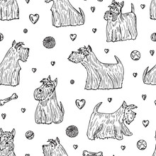 Pets. Dogs Vector Seamless Pattern. Hand Drawn Doodles Scottish Terriers.