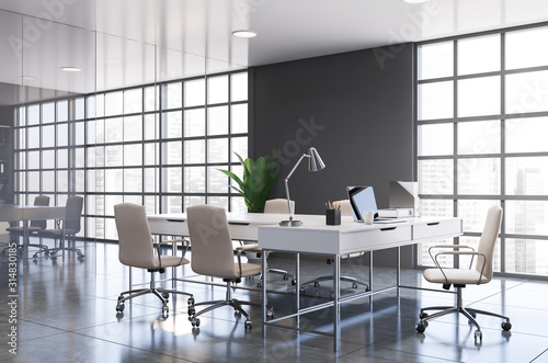 Obraz Gray panoramic CEO office corner - fototapety do salonu