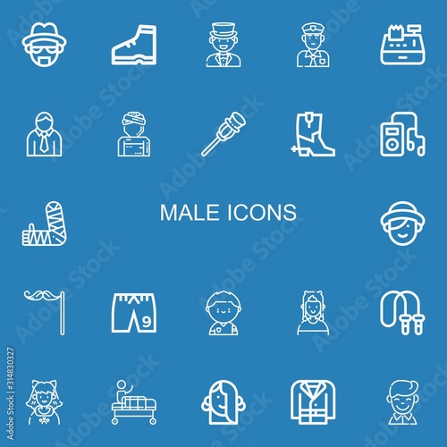 Editable 22 male icons for web and mobile Wallpaper Mural