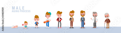 Male from child to old. Isolated vector cartoon illustration in flat design style.