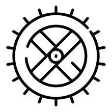 Watermill Wheel Icon. Outline ...