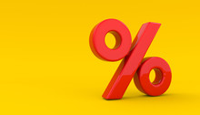 Seasonal Sales Yellow Background With Percent Discount Pattern. 3D