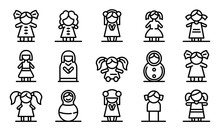 Doll Icons Set. Outline Set Of...