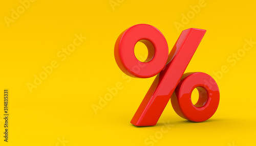 Fotomural Seasonal sales yellow background with percent discount pattern