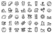 Beach Landscape Icons Set. Out...