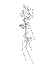 Flower And Hands One Line Draw...