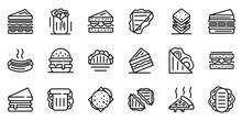 Sandwich Bar Icons Set. Outlin...