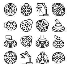Surgical Light Icons Set. Outl...