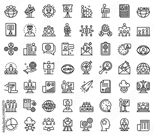 Photo IT administrator icons set