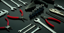 Set Of Mechanic Tools. Chrome ...