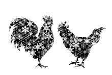 Vector Silhouette Of Snowy Hen...