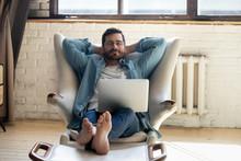 Serene Barefoot Guy Resting, D...