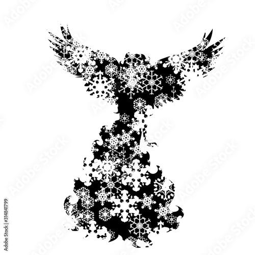 Vector silhouette of snowy angel on white background Fototapet