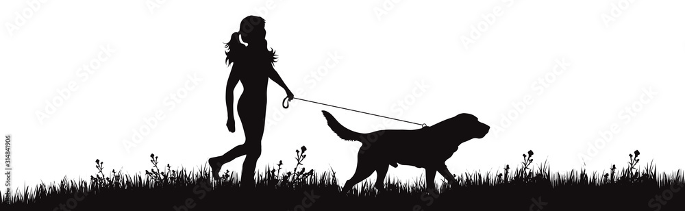 Fototapeta Vector silhouette of girl with dog walks on meadow on white background. Symbol of woman with her pet in the park.