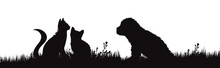 Vector Silhouette Of Puppy With Kitty On White Background. Symbol Of Home Animals On The Garden.