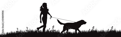 Valokuvatapetti Vector silhouette of girl with dog walks on meadow on white background