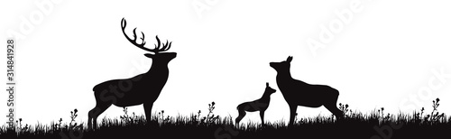 Vector silhouette of forest animals on white background. Symbol of family of deer on the meadow.