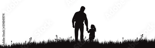 Vector silhouette of grandfather with granddaughter walks on park on white background. Symbol of family in the garden.