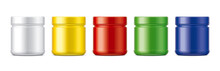 Set Of Plastic Jars. Colored M...