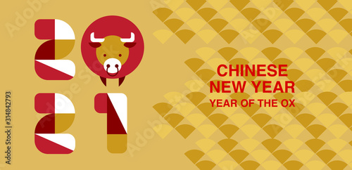 Chinese new year , 2021, Happy new year greetings, Year of the OX, modern design, colorful, cow, Wallpaper Mural