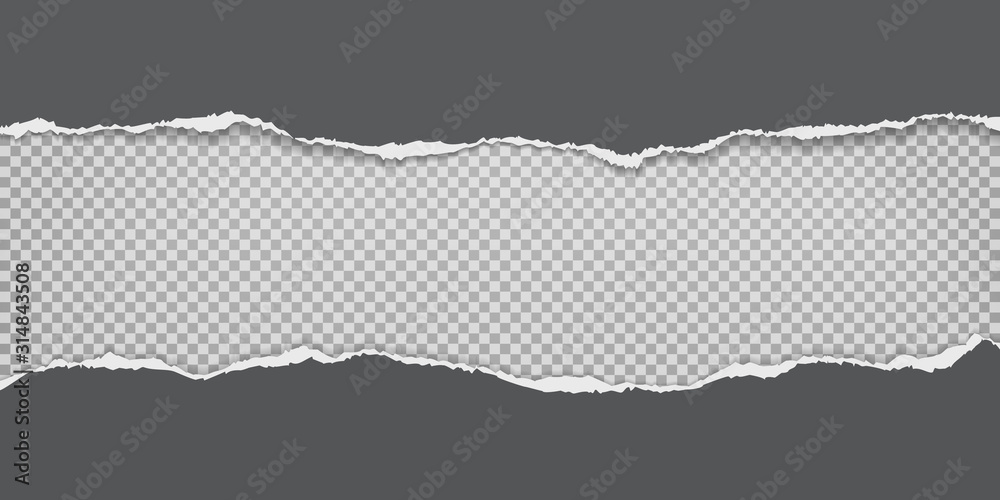 Fototapeta Torn, ripped pieces of horizontal black paper with soft shadow are on grey squared background for text. Vector illustration