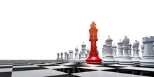 Chess Board Game Business Strategy Ideas Concept 3d Rendering Chess Board Game Figure White Background