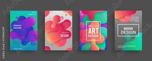 Dynamic form posters. Colored geometric forms and lines. Gradient abstract flowing liquid shapes for banners, flyer or brochure cover vector set
