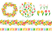 Easter Day Seamless Borders Wi...