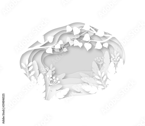 Paper spring background. White grass, leaves and tree branches cutting from layers paper. Origami wedding vector decoration greeting card Wall mural