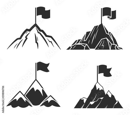 Mountains with flag. Symbol of success business or career and leadership, possibility line to target vector icons
