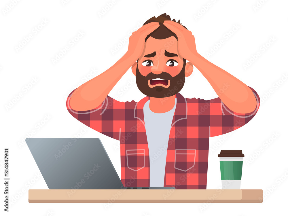 Fototapeta Stress or deadline at work. A business man clutched his head in panic. The bad news. Vector illustration