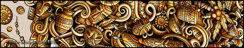 Afryka ręcznie rysowane doodle transparent. Kreskówka szczegółowe ulotki.
