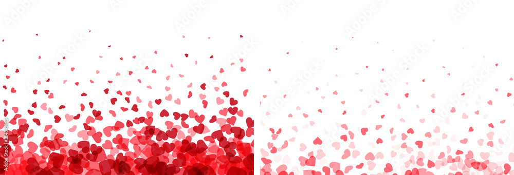 Fototapeta Valentines day banners. Heart confetti falling over white background for greeting cards, wedding invitation.