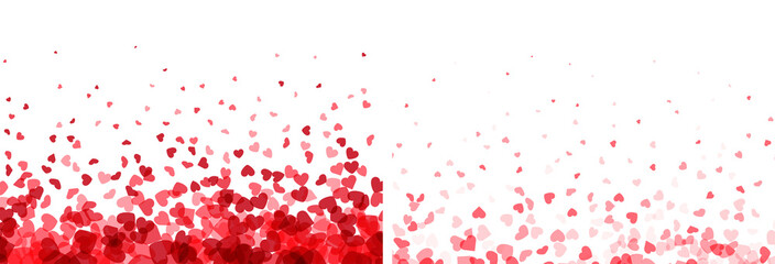 Valentines day banners. Heart confetti falling over white background for gree...